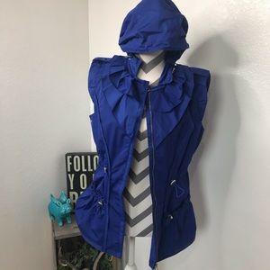 Elie Tahari Full Zip Drawstring Jacket Vest